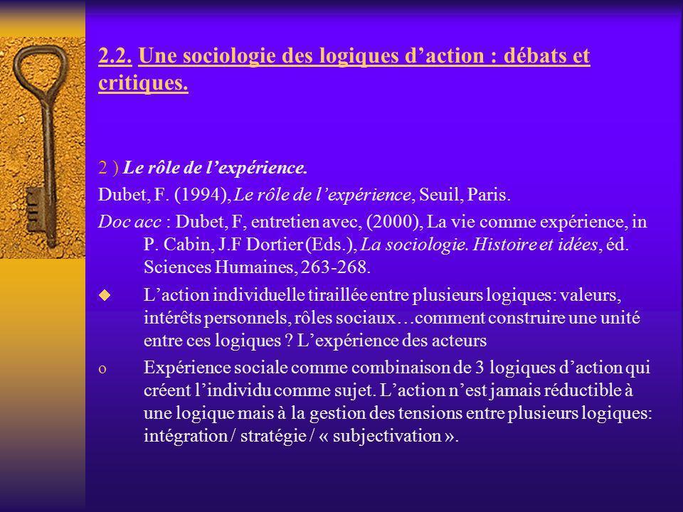 2.2. Une sociologie des logiques daction : débats et critiques. 2 ) Le rôle de lexpérience. Dubet, F. (1994), Le rôle de lexpérience, Seuil, Paris. Do