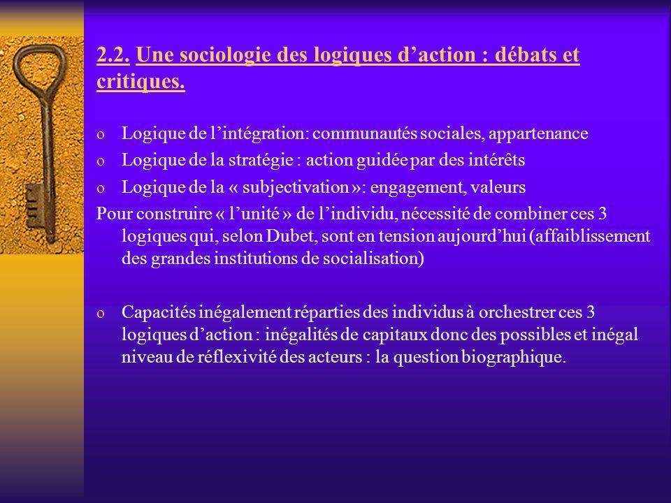 2.2. Une sociologie des logiques daction : débats et critiques. o Logique de lintégration: communautés sociales, appartenance o Logique de la stratégi