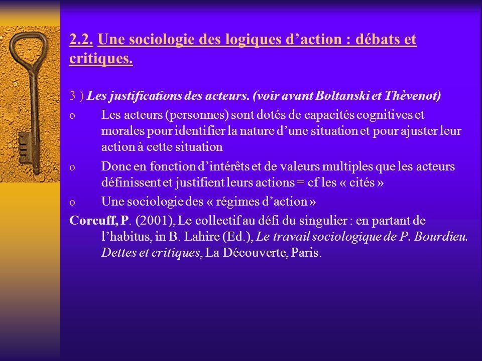 2.2. Une sociologie des logiques daction : débats et critiques. 3 ) Les justifications des acteurs. (voir avant Boltanski et Thèvenot) o Les acteurs (