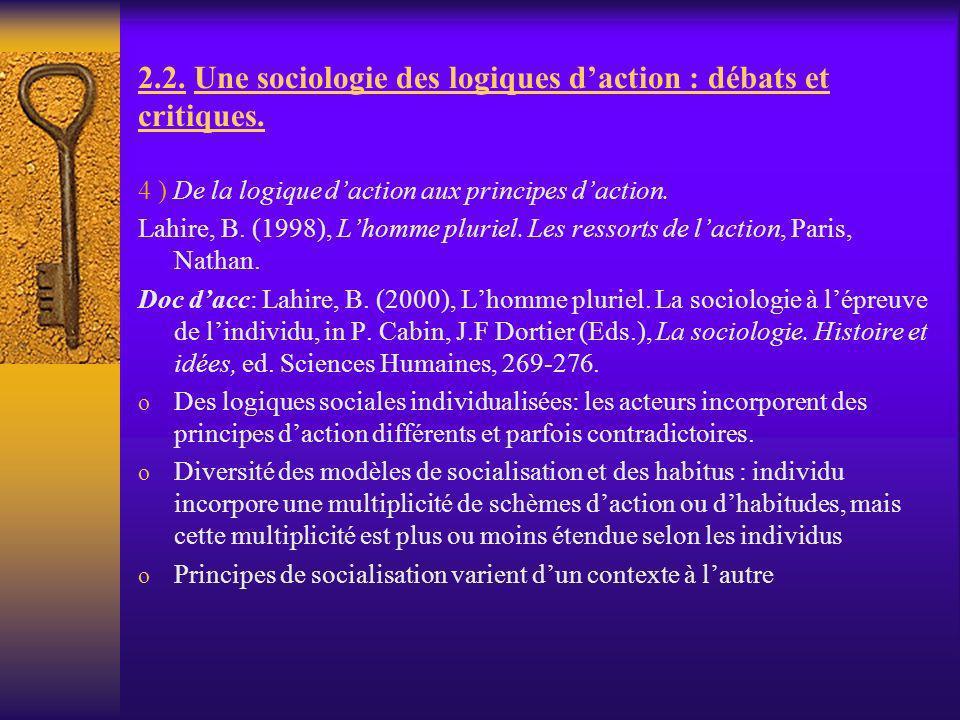 2.2. Une sociologie des logiques daction : débats et critiques. 4 ) De la logique daction aux principes daction. Lahire, B. (1998), Lhomme pluriel. Le