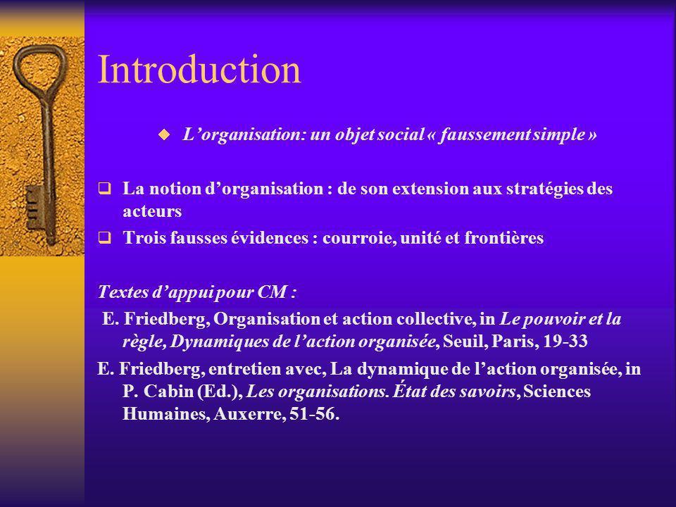 Introduction Lorganisation: un objet social « faussement simple » La notion dorganisation : de son extension aux stratégies des acteurs Trois fausses