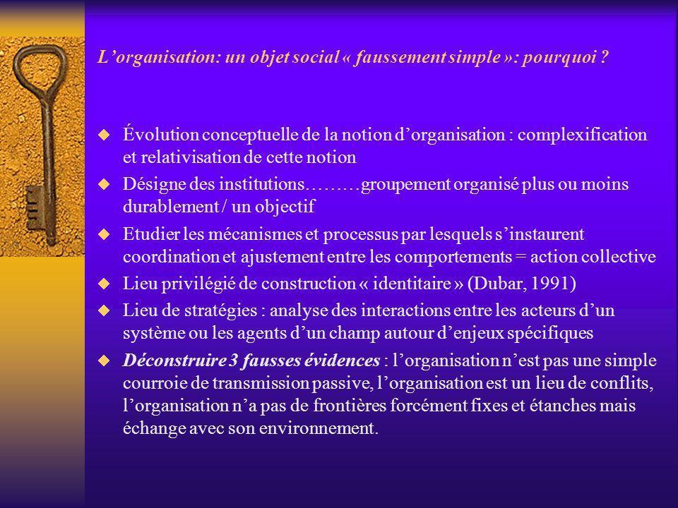 Lorganisation: un objet social « faussement simple »: pourquoi ? Évolution conceptuelle de la notion dorganisation : complexification et relativisatio