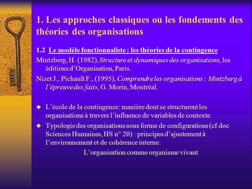 1. Les approches classiques ou les fondements des théories des organisations 1.2 Le modèle fonctionnaliste : les théories de la contingence Mintzberg,