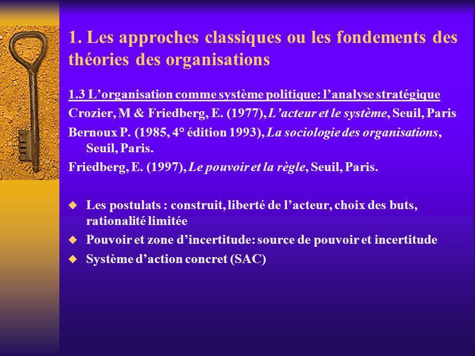 1. Les approches classiques ou les fondements des théories des organisations 1.3 Lorganisation comme système politique: lanalyse stratégique Crozier,