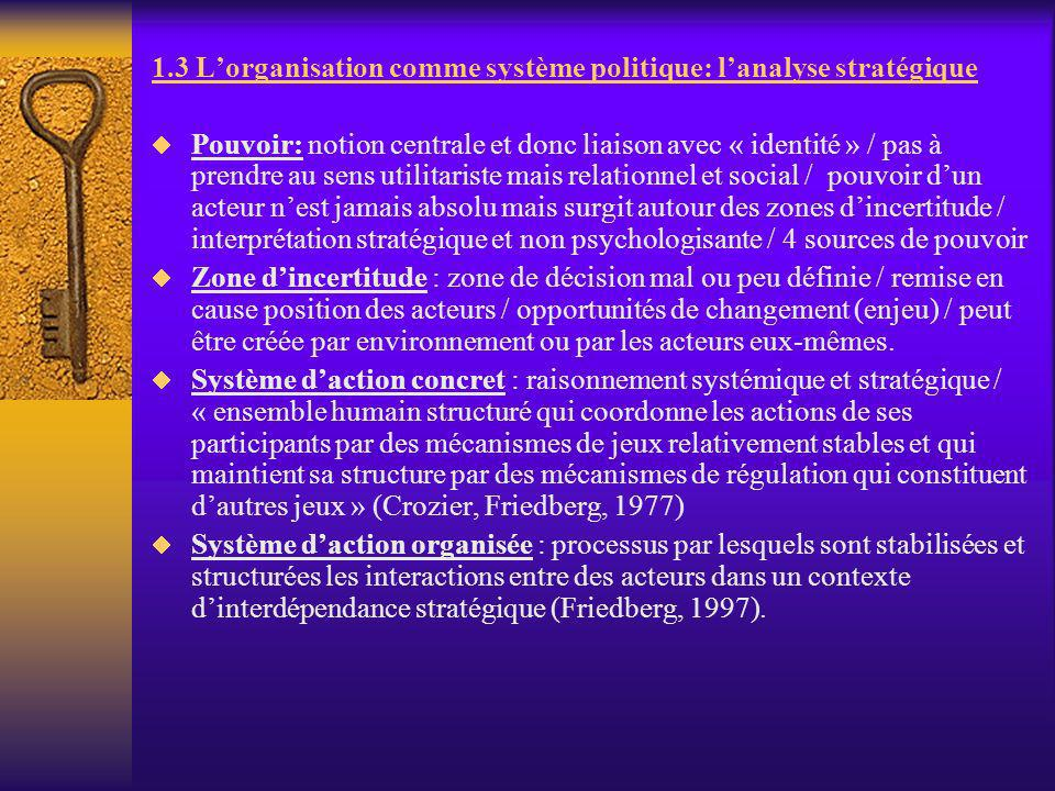 1.3 Lorganisation comme système politique: lanalyse stratégique Pouvoir: notion centrale et donc liaison avec « identité » / pas à prendre au sens uti