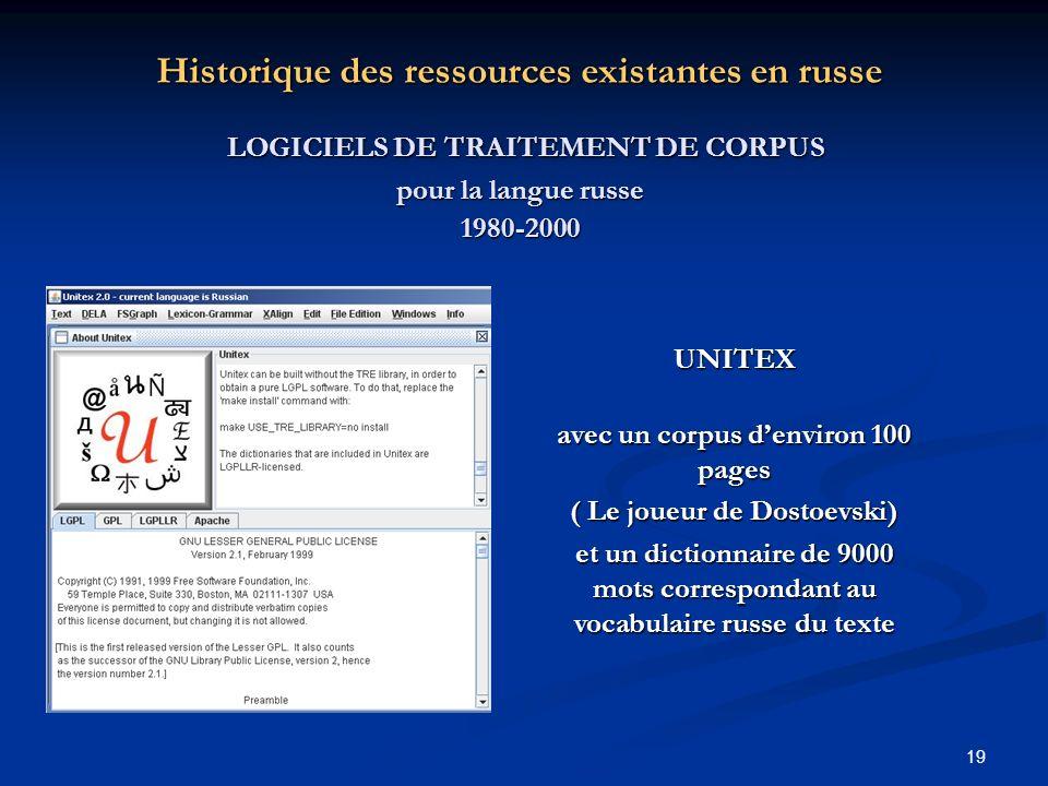 19 Historique des ressources existantes en russe LOGICIELS DE TRAITEMENT DE CORPUS LOGICIELS DE TRAITEMENT DE CORPUS pour la langue russe 1980-2000 UN
