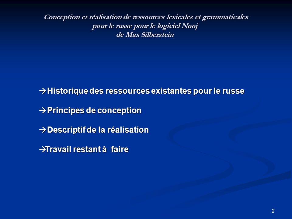 2 Historique des ressources existantes pour le russe Historique des ressources existantes pour le russe Principes de conception Principes de conceptio