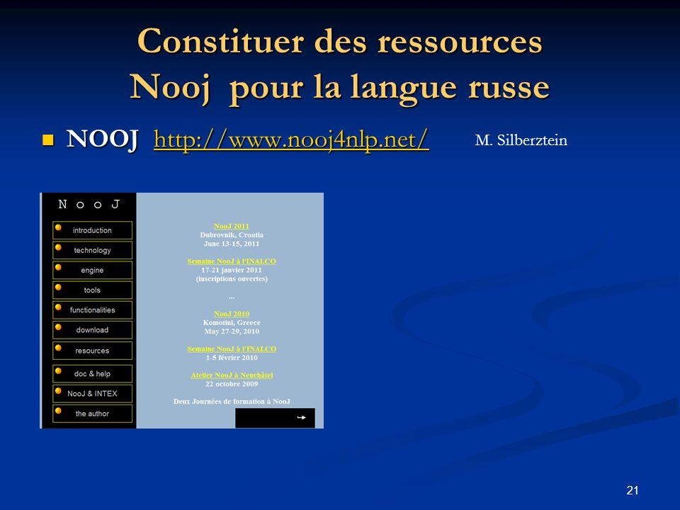 21 Constituer des ressources Nooj pour la langue russe NOOJ http://www.nooj4nlp.net/ NOOJ http://www.nooj4nlp.net/http://www.nooj4nlp.net/ M. Silberzt