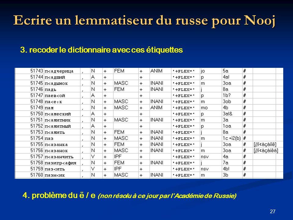 27 Ecrire un lemmatiseur du russe pour Nooj 4. problème du ë / e (non résolu à ce jour par lAcadémie de Russie) 3. recoder le dictionnaire avec ces ét