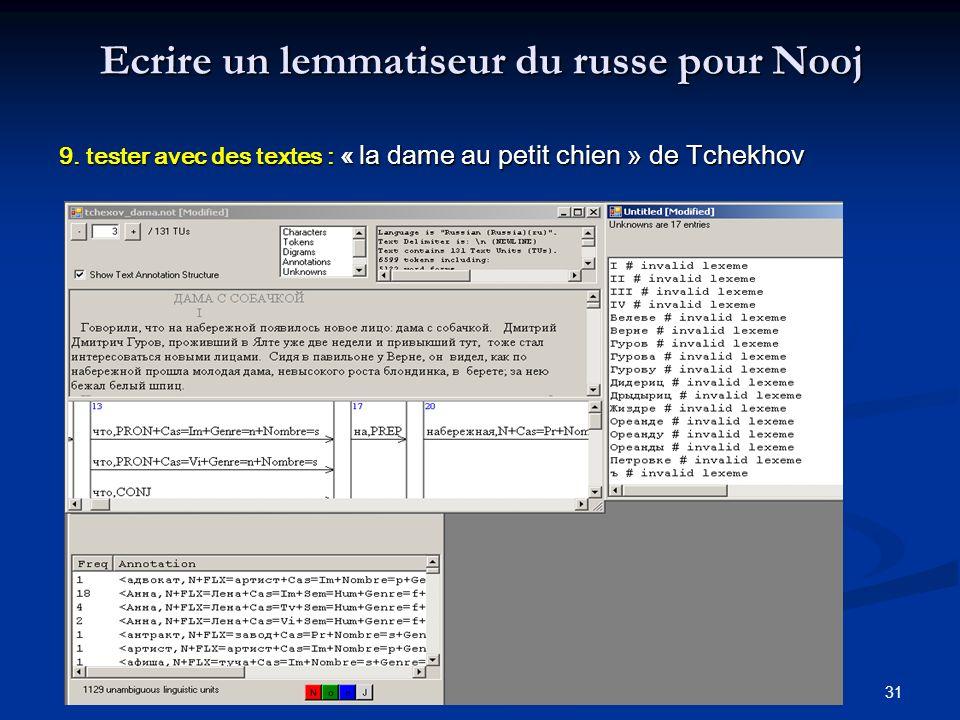 31 Ecrire un lemmatiseur du russe pour Nooj 9. tester avec des textes : « la dame au petit chien » de Tchekhov