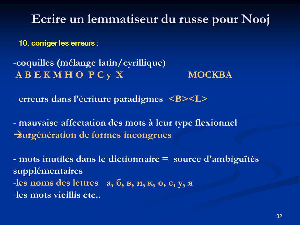 32 Ecrire un lemmatiseur du russe pour Nooj 10. corriger les erreurs : -coquilles (mélange latin/cyrillique) A B E K M H O P C y X MOCKBA - erreurs da