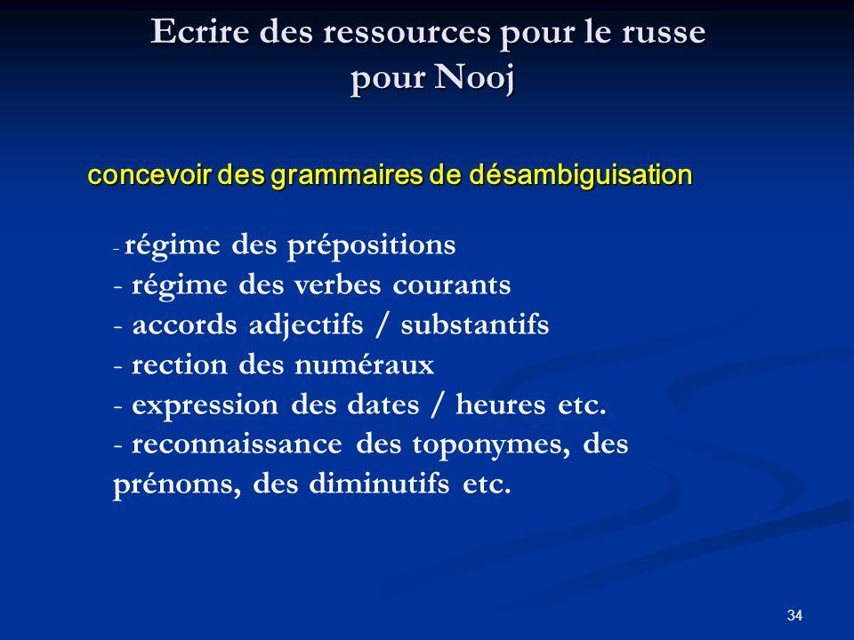 34 Ecrire des ressources pour le russe pour Nooj concevoir des grammaires de désambiguisation concevoir des grammaires de désambiguisation - régime de
