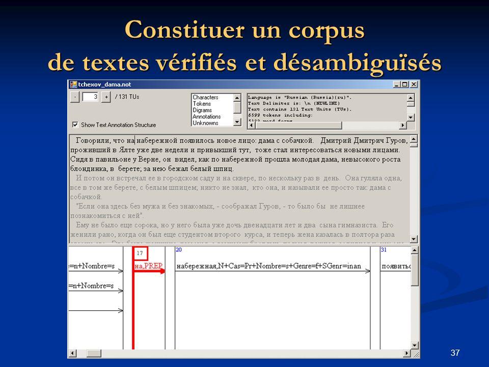 37 Constituer un corpus de textes vérifiés et désambiguïsés