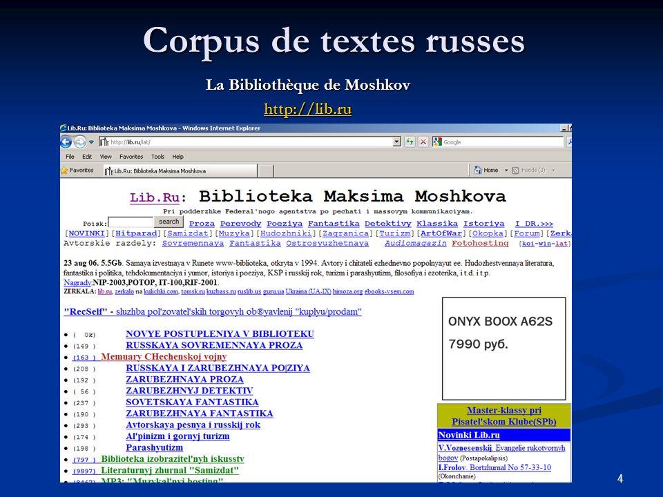4 Corpus de textes russes La Bibliothèque de Moshkov http://lib.ru