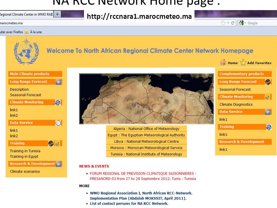 NA RCC Network Home page : http://rccnara1.marocmeteo.ma