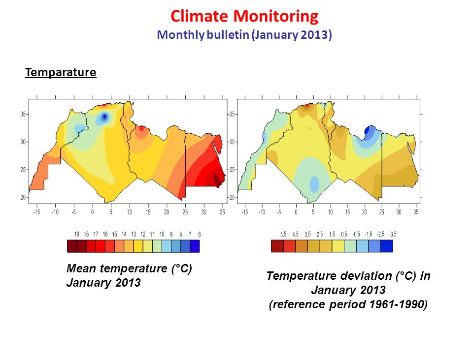 Climate Monitoring Monthly bulletin (January 2013) Precipitation Mean of precipitation (mm) in January 2013 Anomaly precipitation in January 2013 (mm) (reference period 1961-1990)