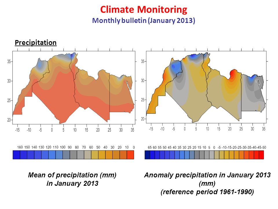 Climate Monitoring Monthly bulletin (January 2013) Precipitation Mean of precipitation (mm) in January 2013 Anomaly precipitation in January 2013 (mm)