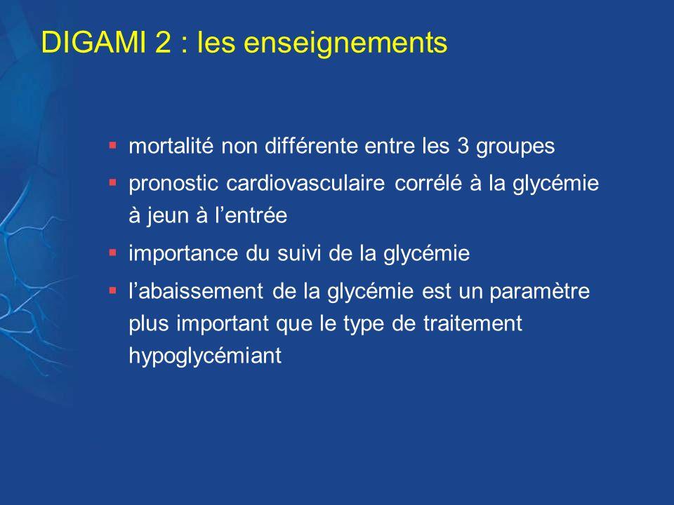 DIGAMI 2 : les enseignements mortalité non différente entre les 3 groupes pronostic cardiovasculaire corrélé à la glycémie à jeun à lentrée importance