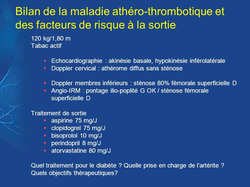 Bilan de la maladie athéro-thrombotique et des facteurs de risque à la sortie 120 kg/1,80 m Tabac actif Echocardiographie : akinésie basale, hypokinés
