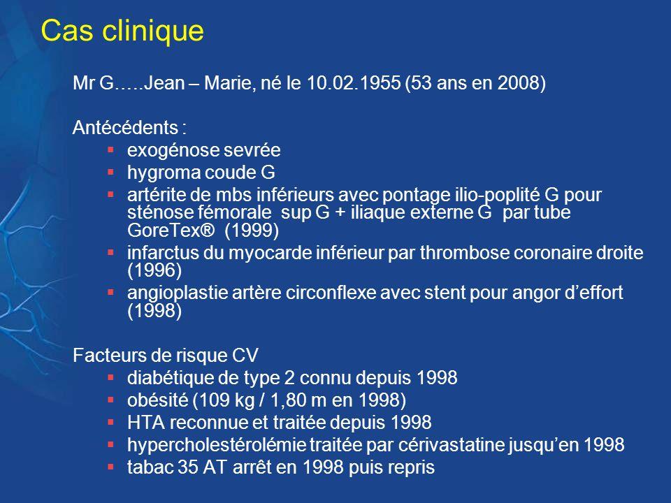 Cas clinique Mr G…..Jean – Marie, né le 10.02.1955 (53 ans en 2008) Antécédents : exogénose sevrée hygroma coude G artérite de mbs inférieurs avec pon