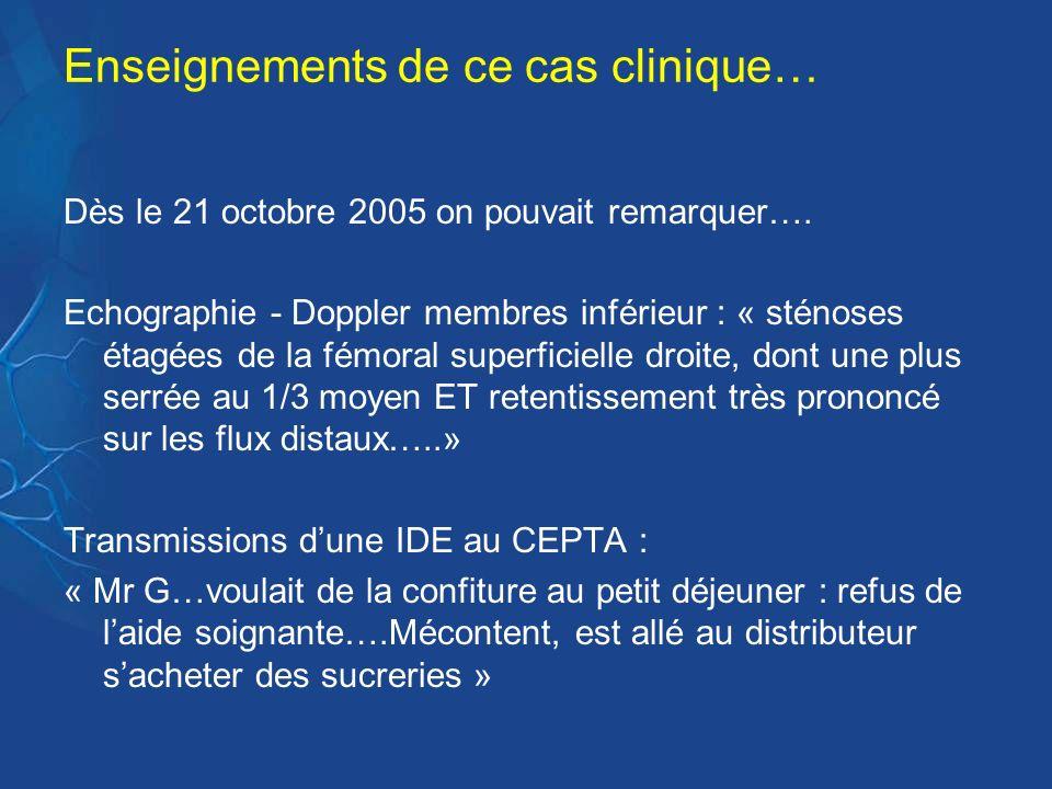 Enseignements de ce cas clinique… Dès le 21 octobre 2005 on pouvait remarquer…. Echographie - Doppler membres inférieur : « sténoses étagées de la fém