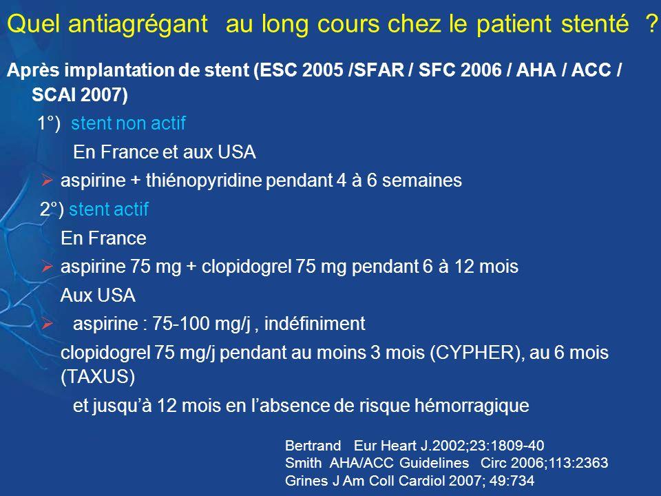 Quel antiagrégant au long cours chez le patient stenté ? Après implantation de stent (ESC 2005 /SFAR / SFC 2006 / AHA / ACC / SCAI 2007) 1°) stent non