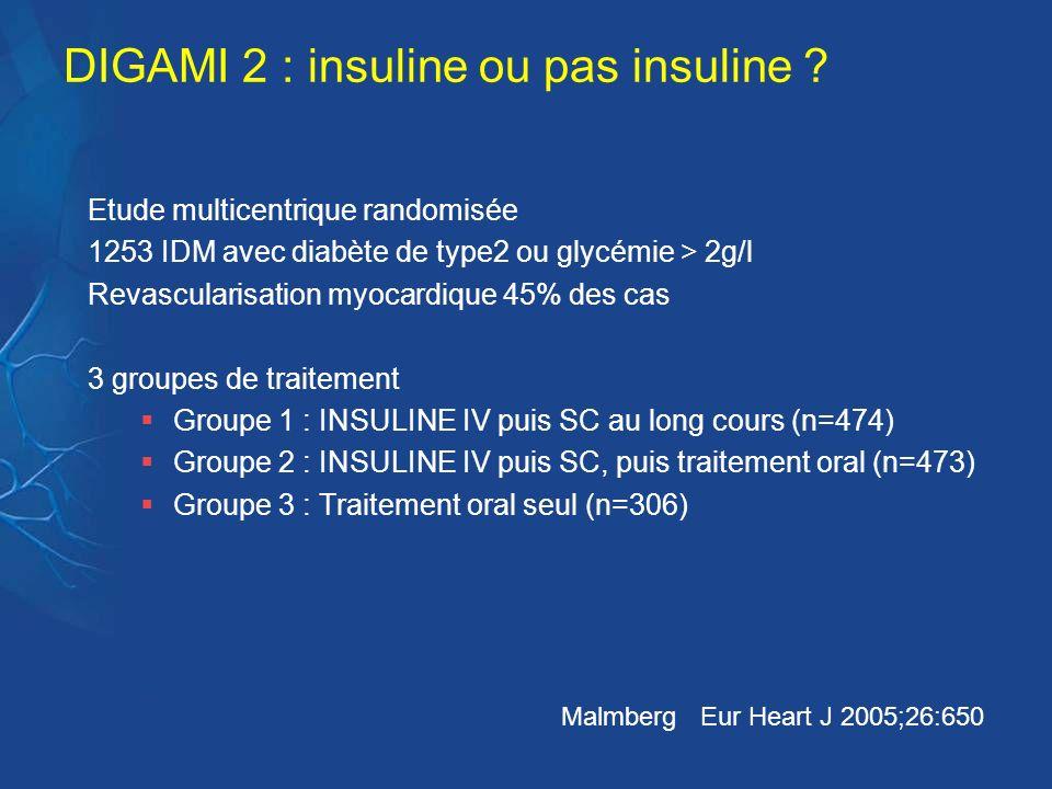 DIGAMI 2 : insuline ou pas insuline ? Etude multicentrique randomisée 1253 IDM avec diabète de type2 ou glycémie > 2g/l Revascularisation myocardique