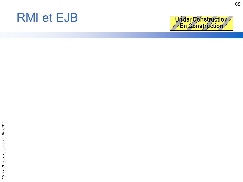 RMI - H. Bourzoufi, D. Donsez, 1998-2003 65 RMI et EJB Under Construction En Construction