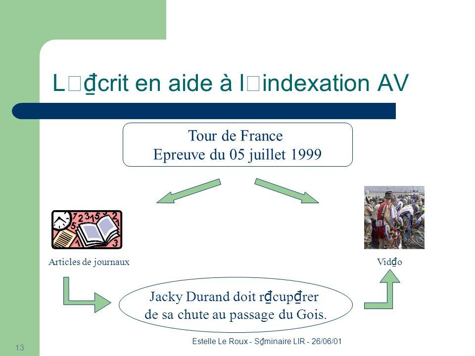 Estelle Le Roux - S minaire LIR - 26/06/01 13 L' crit en aide à l'indexation AV Tour de France Epreuve du 05 juillet 1999 Articles de journaux Vid o Jacky Durand doit r cup rer de sa chute au passage du Gois.