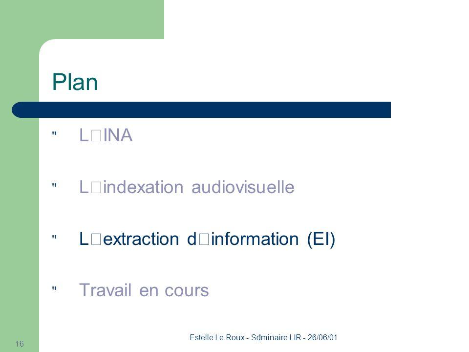 Estelle Le Roux - S minaire LIR - 26/06/01 16 Plan L'INA L'indexation audiovisuelle L'extraction d'information (EI) Travail en cours