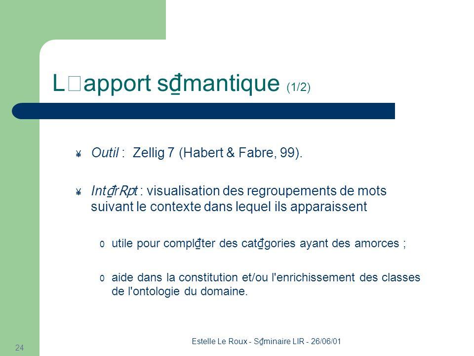 Estelle Le Roux - S minaire LIR - 26/06/01 24 L'apport s mantique (1/2) ¥ Outil : Zellig 7 (Habert & Fabre, 99).