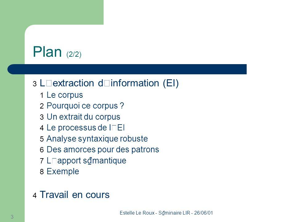 Estelle Le Roux - S minaire LIR - 26/06/01 3 Plan (2/2) 3 L'extraction d'information (EI) 1 Le corpus 2 Pourquoi ce corpus .