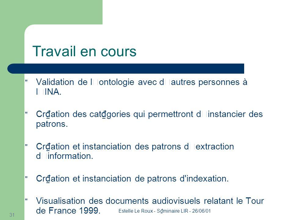 Estelle Le Roux - S minaire LIR - 26/06/01 31 Travail en cours Validation de l'ontologie avec d'autres personnes à l'INA.