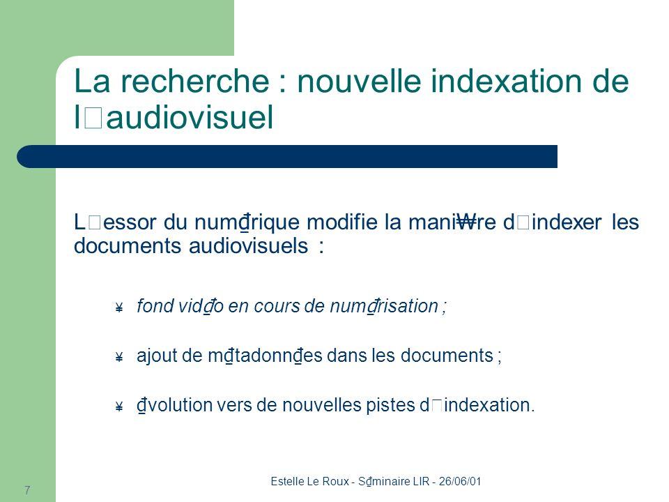 Estelle Le Roux - S minaire LIR - 26/06/01 8 Plan L'INA L'indexation audiovisuelle L'extraction d'information (EI) Travail en cours