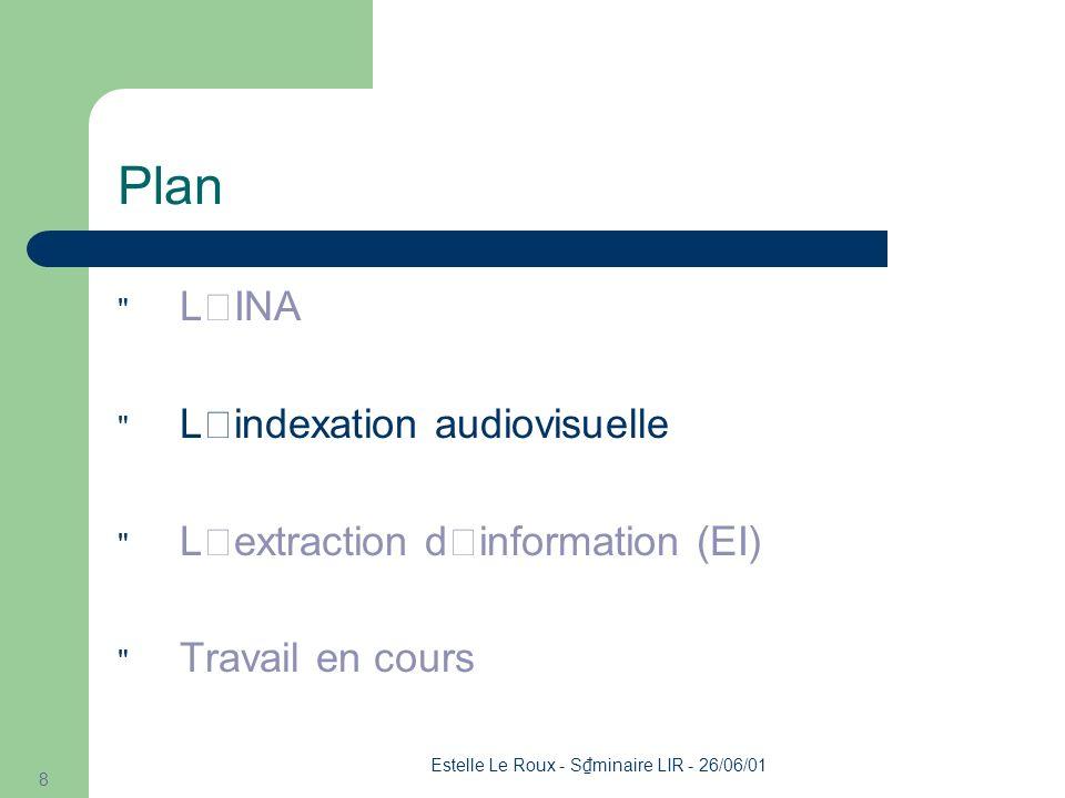 Estelle Le Roux - S minaire LIR - 26/06/01 29 Exemple (4/4) Le_Da (Belge_Nc) (Tom_Np) (Steels_Np) (_Y (Mapei_Np) )_Y a_Va remport _Vm (deux_Mc) victoires_Nc Instance de Nationalit Instance de CoureurCycliste Instance de Equipe Instance de Num aCommeNationalit (CoureurCycliste, Nationalit ) 0 aCommeNationalit (Tom Steels, Belge) AcommeMembre(Equipe, CoureurCycliste) 0 aCommeMembre(Mapei, Tom Steels) aRemport Victoire(CoureurCycliste, Num) 0 aRemport Victoire(Tom Steels, deux) Patron d ' indexation