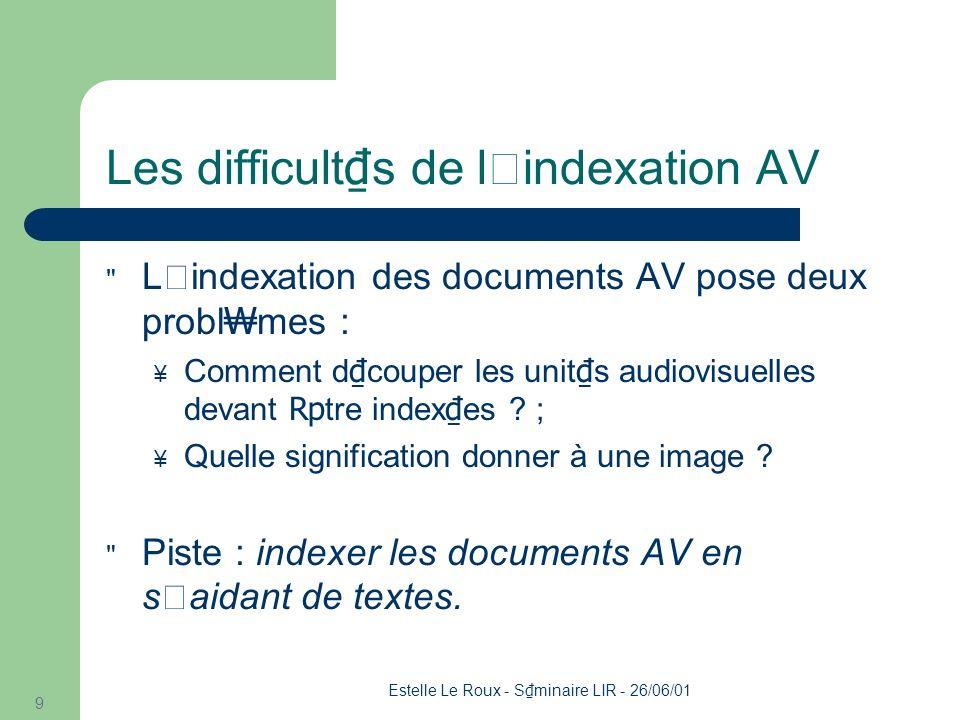 Estelle Le Roux - S minaire LIR - 26/06/01 30 Plan L'INA L'indexation audiovisuelle L'extraction d'information Travail en cours