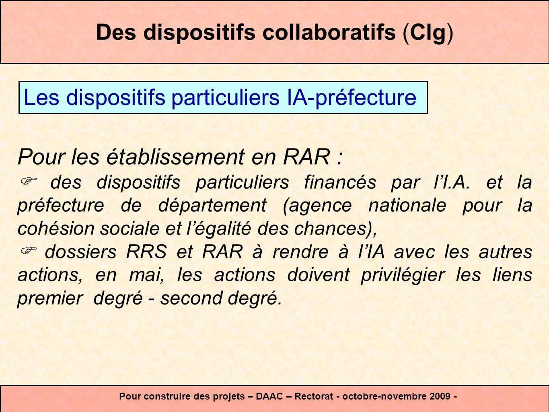 Des dispositifs collaboratifs (Clg) Pour les établissement en RAR : des dispositifs particuliers financés par lI.A. et la préfecture de département (a