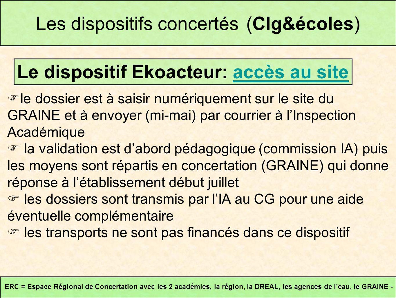 Les dispositifs concertés (Clg&écoles) Le dispositif Ekoacteur: accès au siteaccès au site ERC = Espace Régional de Concertation avec les 2 académies,