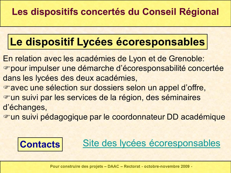 En relation avec les académies de Lyon et de Grenoble: pour impulser une démarche décoresponsabilité concertée dans les lycées des deux académies, ave