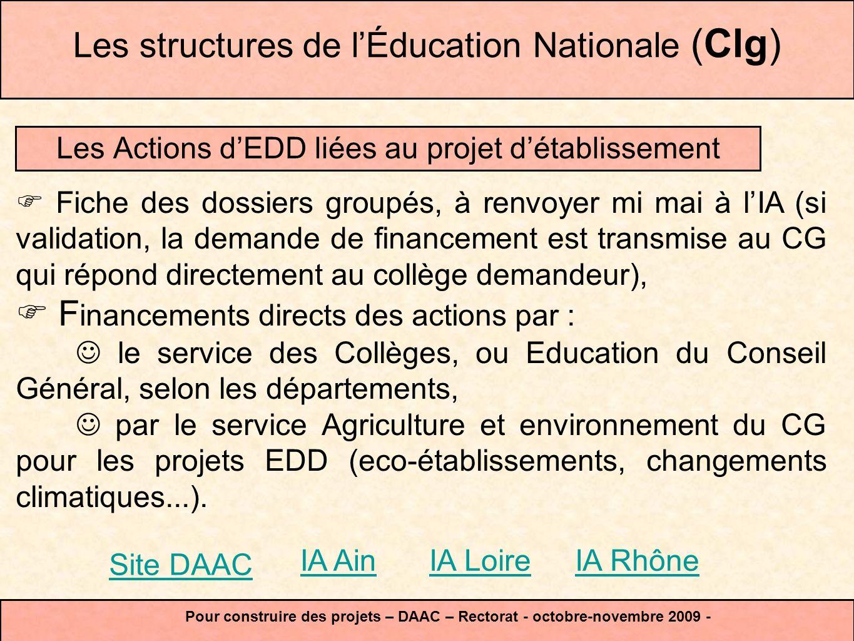 avriljuilletseptembre APS Mi-mai Ac.PE PAC Les structures de lÉducation Nationale(Clg&Lyc) Pour construire des projets – DAAC – Rectorat - octobre-novembre 2009 - CG l Et aussi pour faire de lEDD, les enseignements disciplinaires, les IDD, les TPE, le P2S, lECJS et les PPCP.