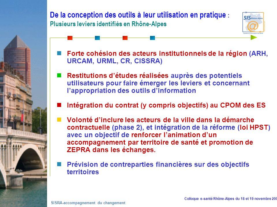 Colloque e-santé Rhône-Alpes du 18 et 19 novembre 2008 SISRA-accompagnement du changement La diffusion du contrat de déploiement et de mise en œuvre du DPPR Forte cohésion des acteurs institutionnels de la région (ARH, URCAM, URML, CR, CISSRA) Restitutions détudes réalisées auprès des potentiels utilisateurs pour faire émerger les leviers et concernant lappropriation des outils dinformation Intégration du contrat (y compris objectifs) au CPOM des ES Volonté dinclure les acteurs de la ville dans la démarche contractuelle (phase 2), et intégration de la réforme (loi HPST) avec un objectif de renforcer lanimation dun accompagnement par territoire de santé et promotion de ZEPRA dans les échanges.