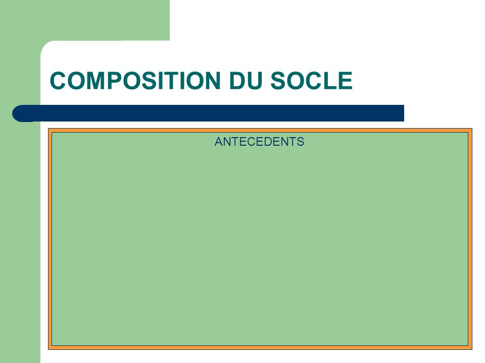 COMPOSITION DU SOCLE IDENTIFICATION DU PATIENT PROBLEMES EN COURS ETAT IMMUNITAIREFACTEURS DE RISQUE EXAMENS COMPLEMENTAIRES TRAITEMENT EN COURS ANTECEDENTS