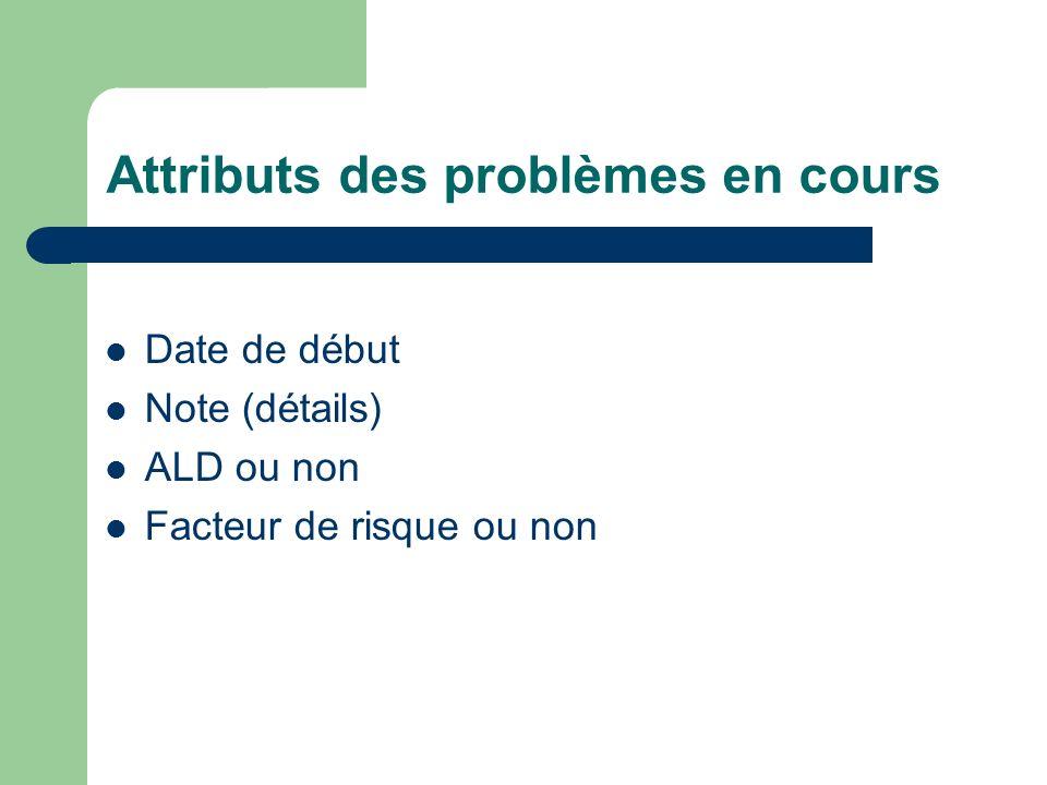 Attributs des problèmes en cours Date de début Note (détails) ALD ou non Facteur de risque ou non