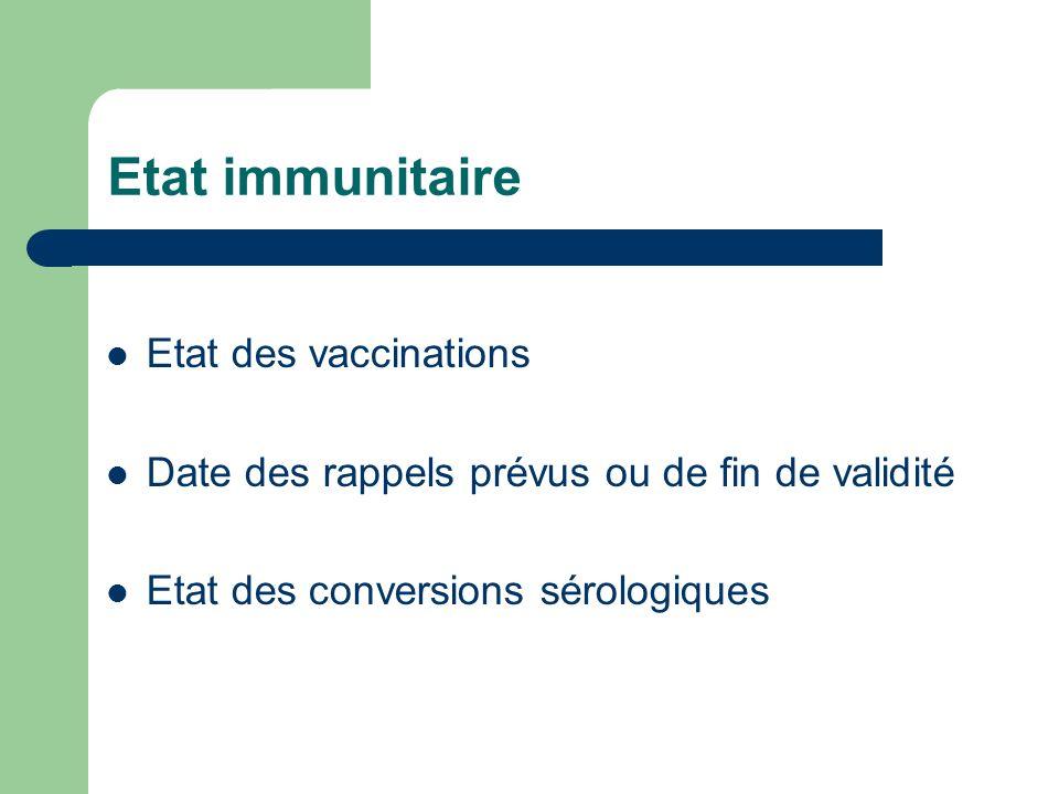 Etat immunitaire Etat des vaccinations Date des rappels prévus ou de fin de validité Etat des conversions sérologiques