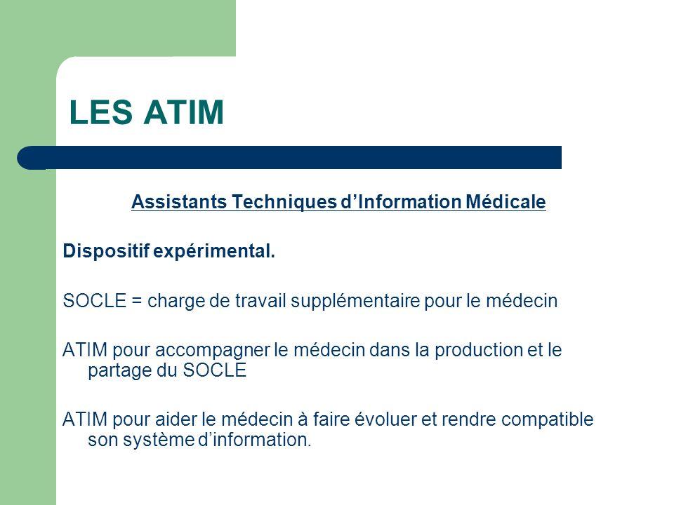 LES ATIM Assistants Techniques dInformation Médicale Dispositif expérimental.