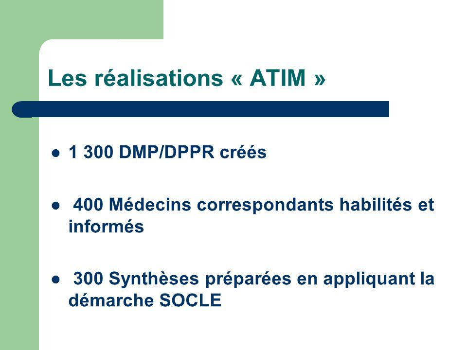 Les réalisations « ATIM » 1 300 DMP/DPPR créés 400 Médecins correspondants habilités et informés 300 Synthèses préparées en appliquant la démarche SOCLE