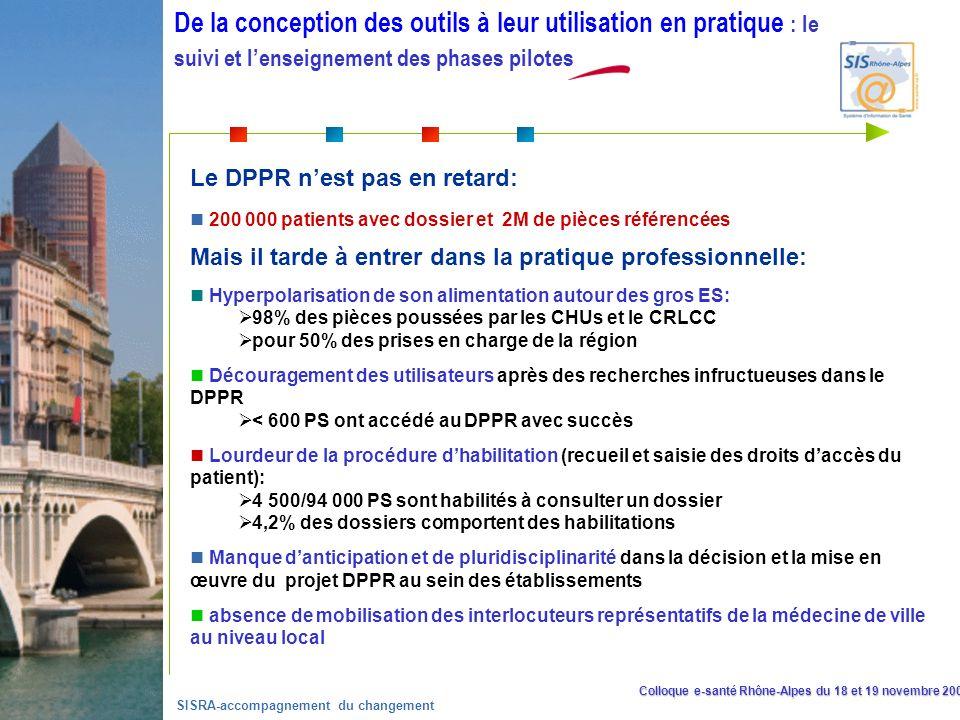 Colloque e-santé Rhône-Alpes du 18 et 19 novembre 2008 SISRA-accompagnement du changement Lutilisation du Dossier Patient Partagé et Réparti Le DPPR nest pas en retard: 200 000 patients avec dossier et 2M de pièces référencées Mais il tarde à entrer dans la pratique professionnelle: Hyperpolarisation de son alimentation autour des gros ES: 98% des pièces poussées par les CHUs et le CRLCC pour 50% des prises en charge de la région Découragement des utilisateurs après des recherches infructueuses dans le DPPR < 600 PS ont accédé au DPPR avec succès Lourdeur de la procédure dhabilitation (recueil et saisie des droits daccès du patient): 4 500/94 000 PS sont habilités à consulter un dossier 4,2% des dossiers comportent des habilitations Manque danticipation et de pluridisciplinarité dans la décision et la mise en œuvre du projet DPPR au sein des établissements absence de mobilisation des interlocuteurs représentatifs de la médecine de ville au niveau local De la conception des outils à leur utilisation en pratique : le suivi et lenseignement des phases pilotes