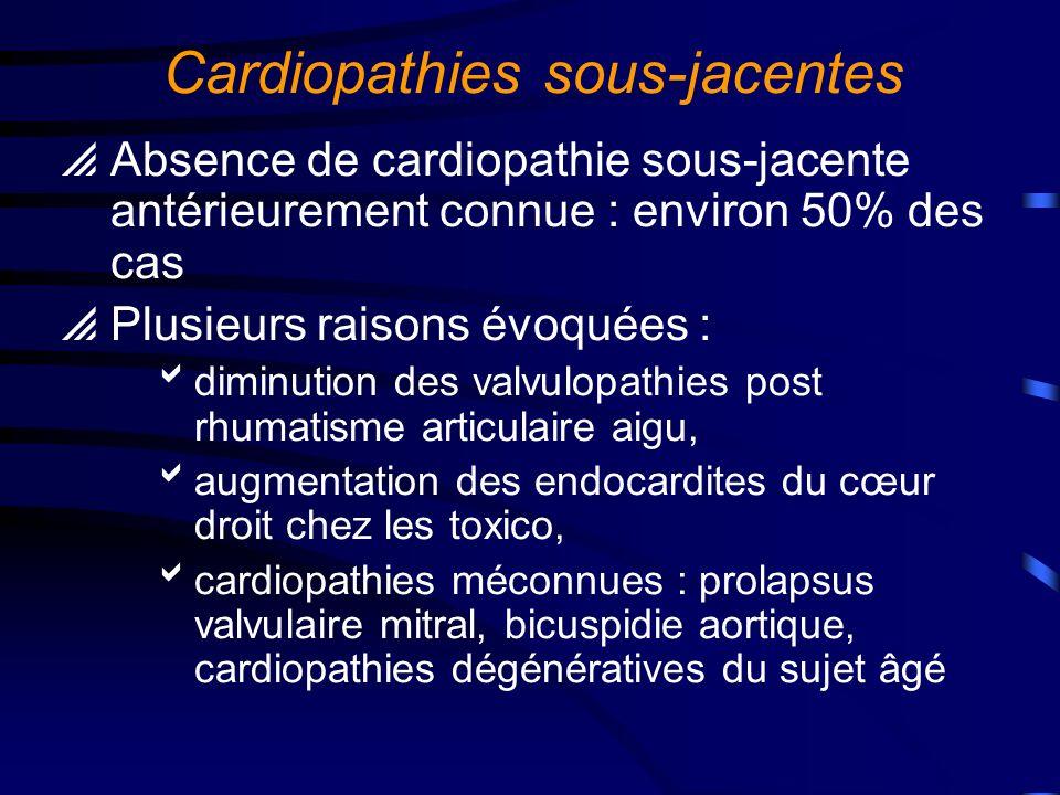 Cardiopathies à risque Cardiopathies à haut risque : Prothèses valvulaires Cardiopathies congénitales cyanogènes Antécédent d endocardite infectieuse Cardiopathies à risque modéré: Valvulopathies : insuffisance aortique, insuffisance mitrale, rétrécissement aortique Prolapsus valvulaire mitral avec fuite et/ou épaississement valvulaire Bicuspidie aortique, cardiopathies congénitales non cyanogènes sauf CIA (communication interauriculaire) Cardiomyopathies obstructives