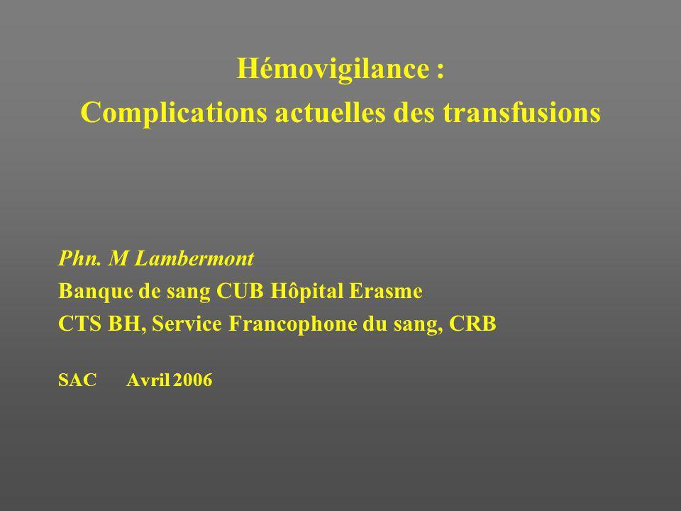 Réactions transfusionnelles 20032004 2005 29 34 32 Types de r é actions Frissons, T° >1°C2215 16 + Pouls >120, hypertension11 9 dyspn é e Eryth è me, rash, prurit 2 2 3 Hypertension 1 0 0 Hypotension 0 1 1 Naus é es, vomissements 1 0 1 Douleurs lombaires 0 0 0 H é molyse, transf inefficace 0 3 0 Bronchospasme 0 1 1 Oed è me pulm .