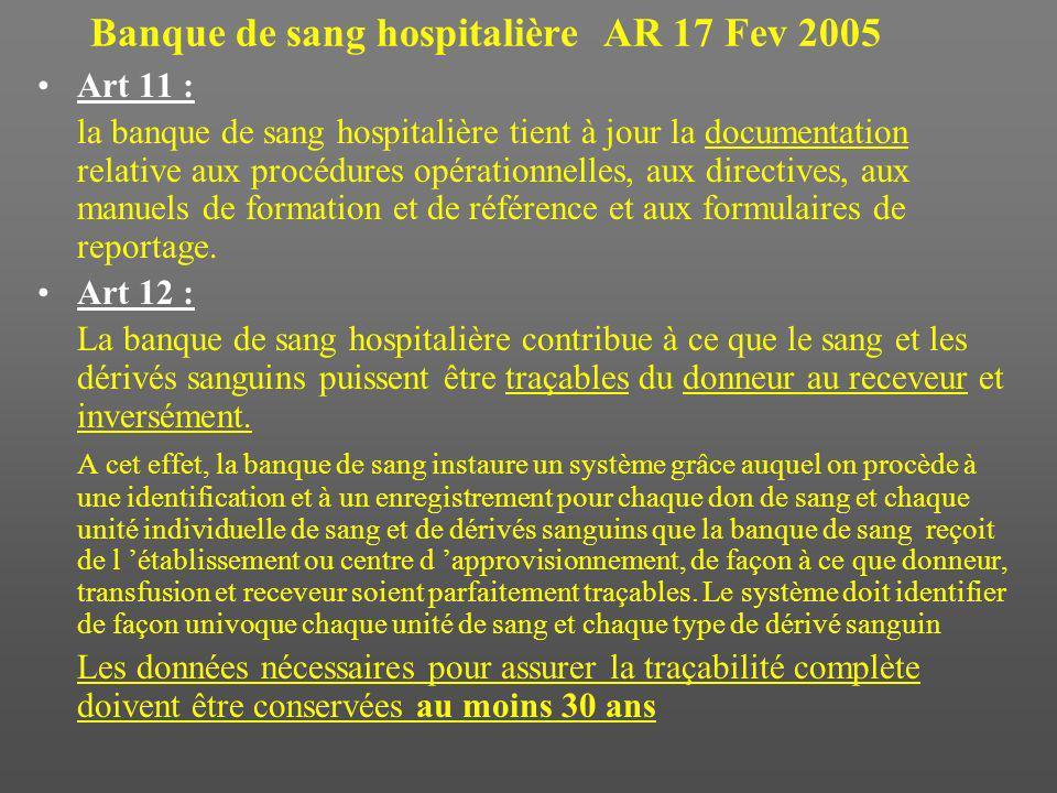 Banque de sang hospitalière AR 17 Fev 2005 Art 11 : la banque de sang hospitalière tient à jour la documentation relative aux procédures opérationnelles, aux directives, aux manuels de formation et de référence et aux formulaires de reportage.